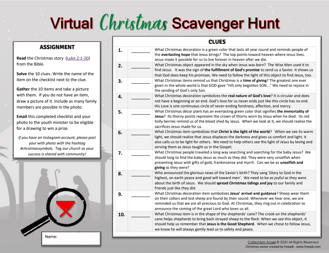 Virtual Christmas Scavenger Hunt For Home Or Zoom Catechism Angel Free Resources